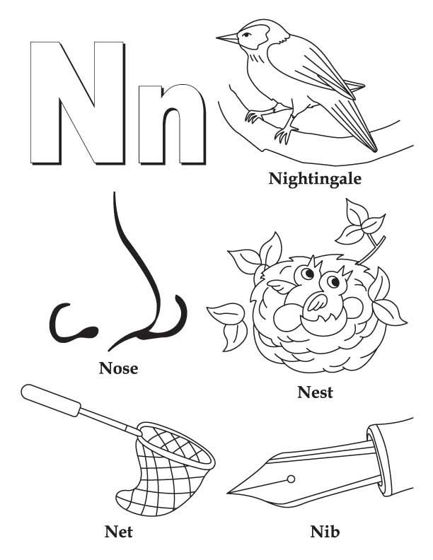 Alphabet Coloring Pages N : My a to z coloring book letter n page