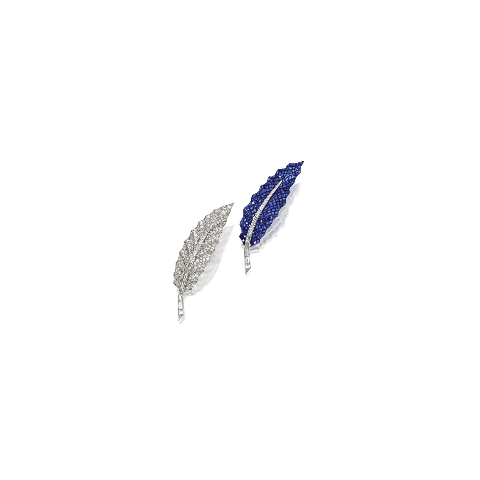 Pair of sapphire and diamond leaf clips, Oscar Heyman & Brothers Inc. | Lot | Sotheby's
