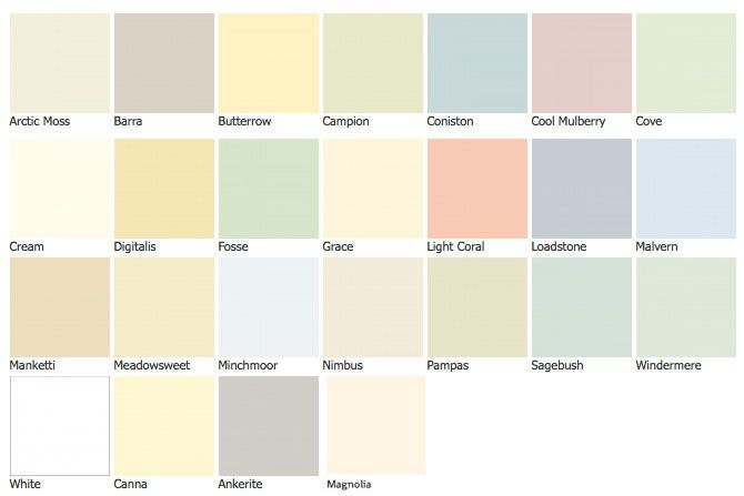 Colour Chart For Auro 324 Natural And Washable Wall