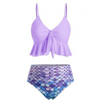 [40% OFF] 2020 Flounce Knot Scale Print Mermaid Tankini Swimsuit In MAUVE | Dres… – Swimsuit