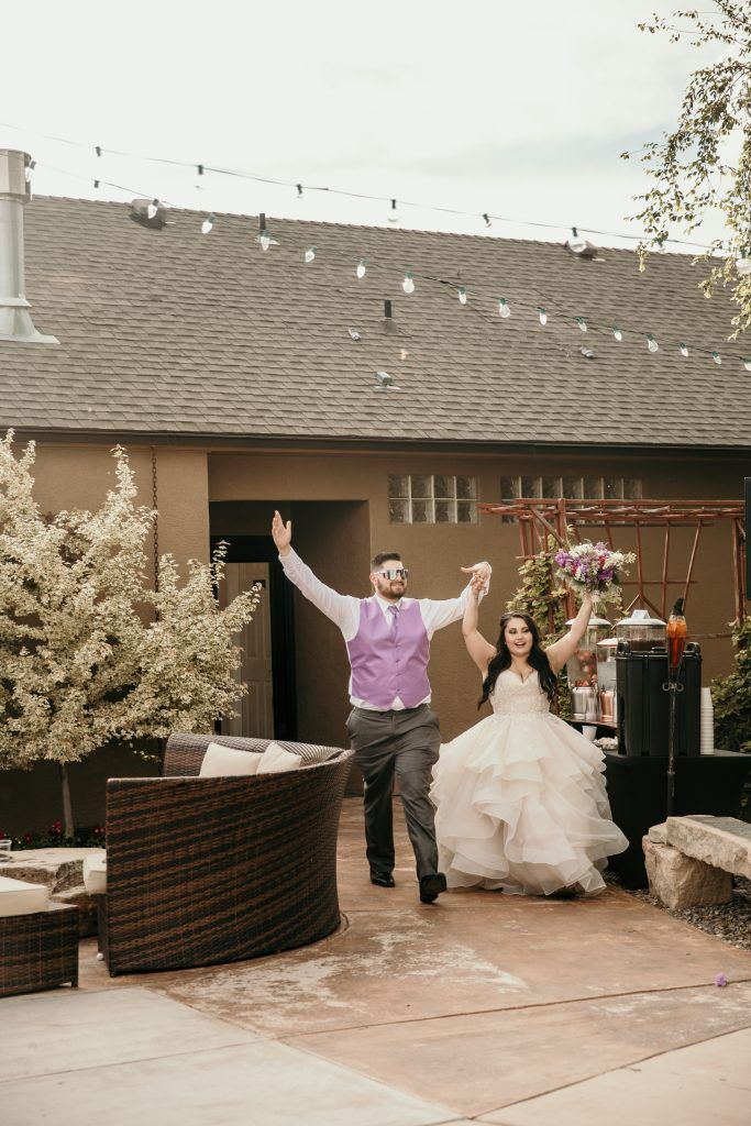 Bride And Groom Entering The Boho Rustic Wedding Reception Dance
