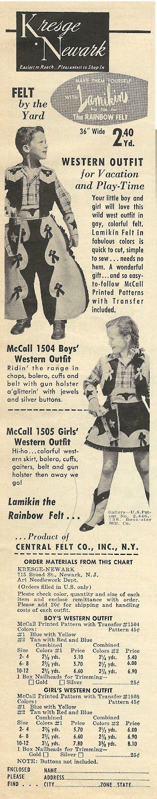 1950 ad: Western Outfit for kids; MawMaw shopped at Kresges either on Jefferson that next street over #westernoutfits