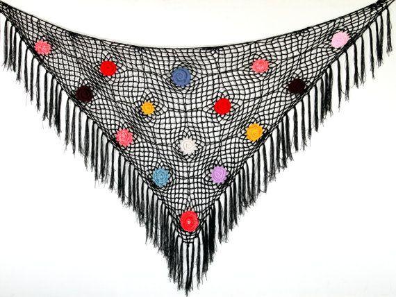 Black Fringe Shawl Wrap  Hand Crochet chic  stylish by ettygeller