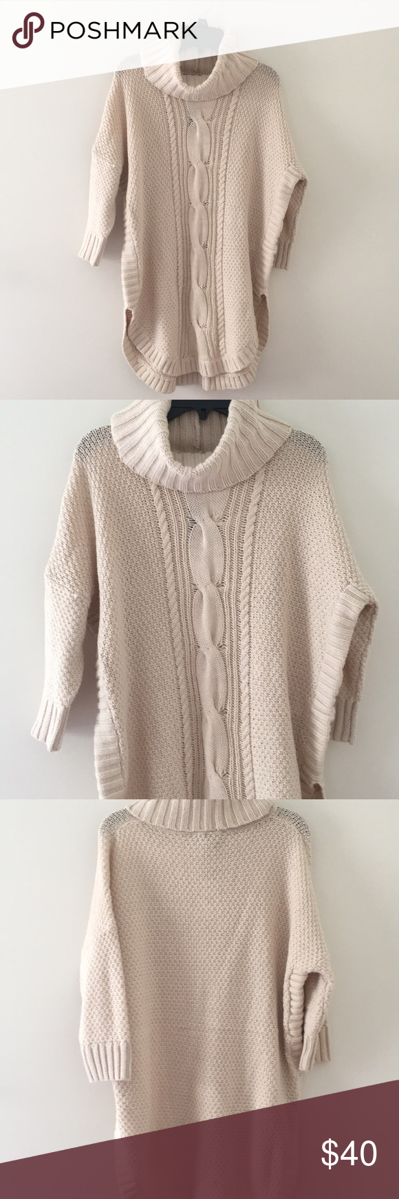 Express Cowl Neck Sweater Cable Knit Circle Hem Cowl New Sweater From Express 3 Quarters Sleeves Color Is Like Clothes Design Pattern Sweater Fashion Design