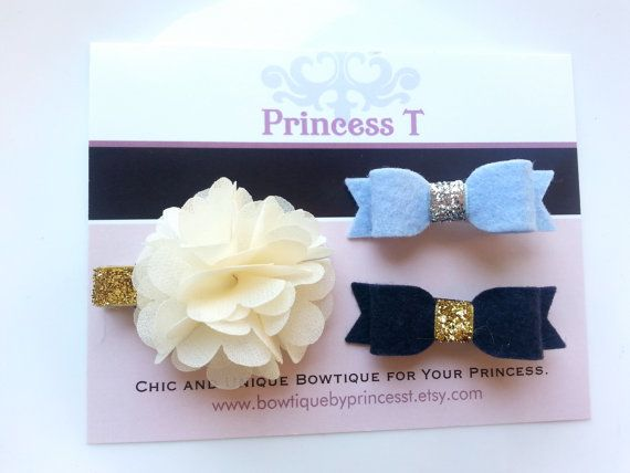 Ivory Chiffon Flower and Navy/Blue Felt Bow by BowtiquebyprincessT, $10.90