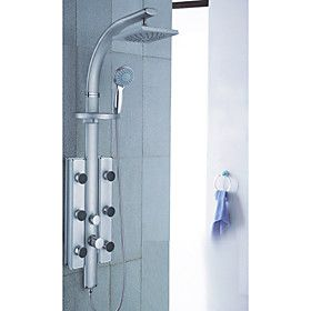 200 200mm Wall Mount Rotatable Shower Panel Faucet With Body Sprays - Painting Finish