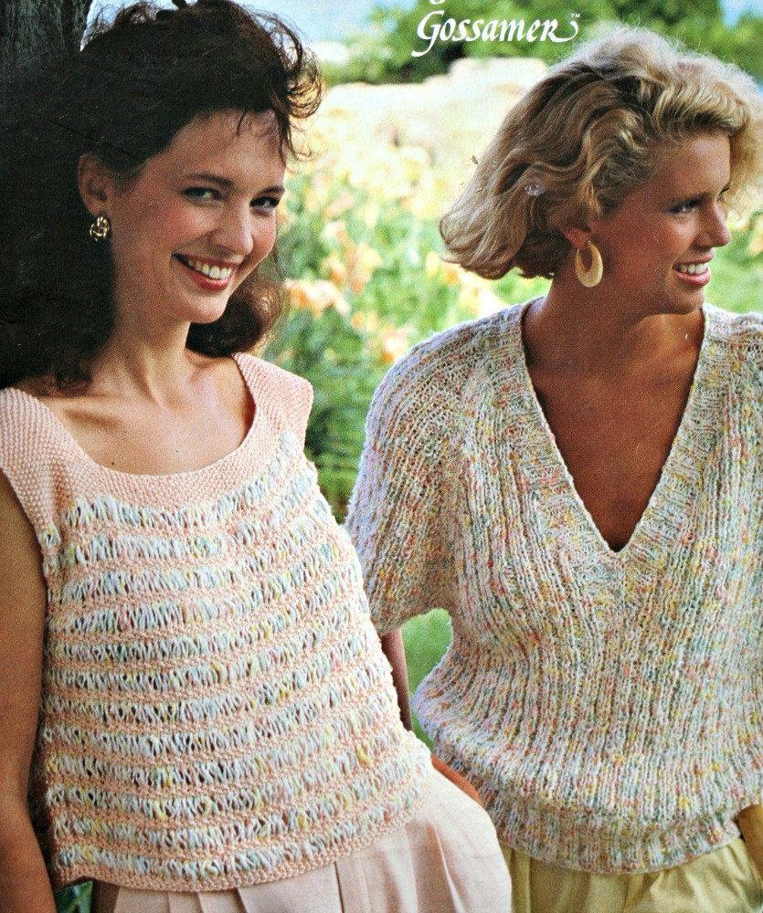Sweater Knitting Patterns Summer Killarney Gossamer Bernat 567B ...