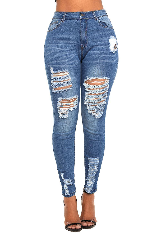 04c3bfb7da16b Jean skinny déchiré extensible - Bleu - Vêtements/Pantalons - Jeans -  Leggings - Sy-belle