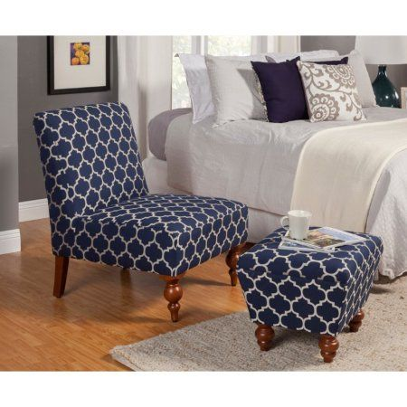 Homepop Susan Armless Accent Chair Ottoman Set Blue