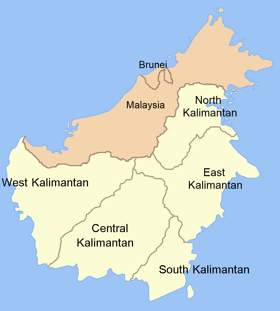 Borneo Island: Borneo. Part Of The Island Is Indonesian And Part Of The