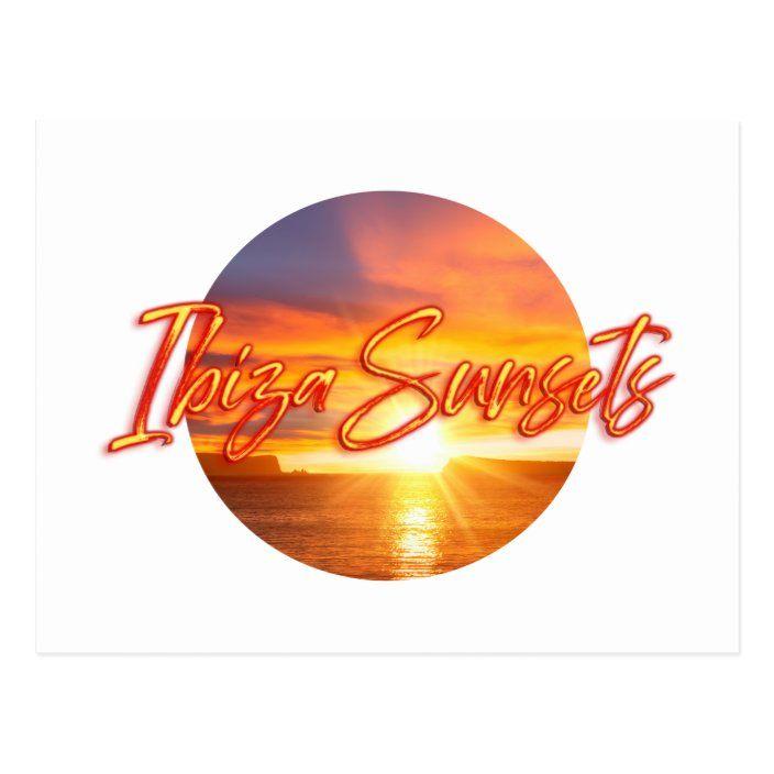 Postal Puesta de sol y el texto Ibiza Sunsets  