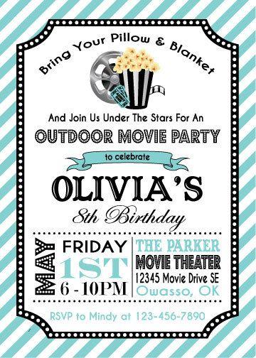 Movie Party Invitation | Movie Party Birthday Invitation | Movie Party  Printable Invitation | Outdoor Movie