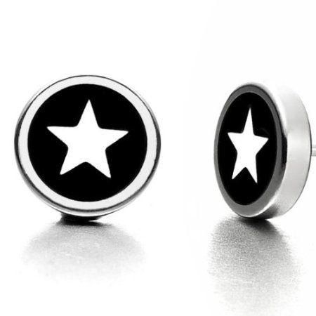 Beautiful Mens Star Stud Stainless Steel Earrings Silver & Black http://csszip.com/us/B005FC8KBY/