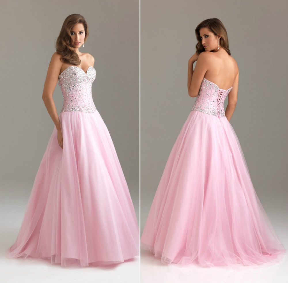 PINK Beaded A-line Tulle Quinceanera/Ball gown/Evening/Prom dress ...