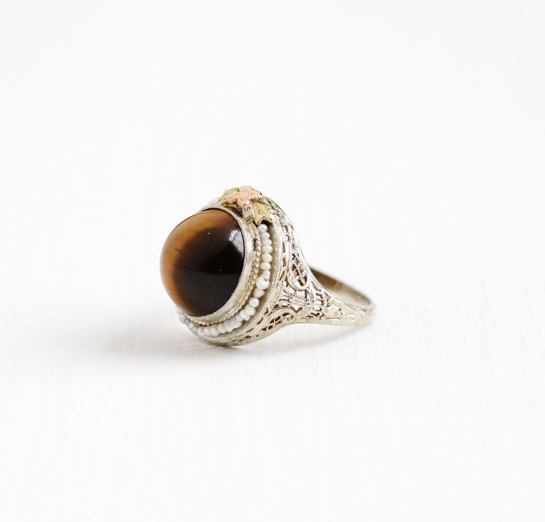 Caramel Cat S Eye Ring Diamontrigue Jewelry: Antique 14k White Gold Tiger's Eye Filigree Ring