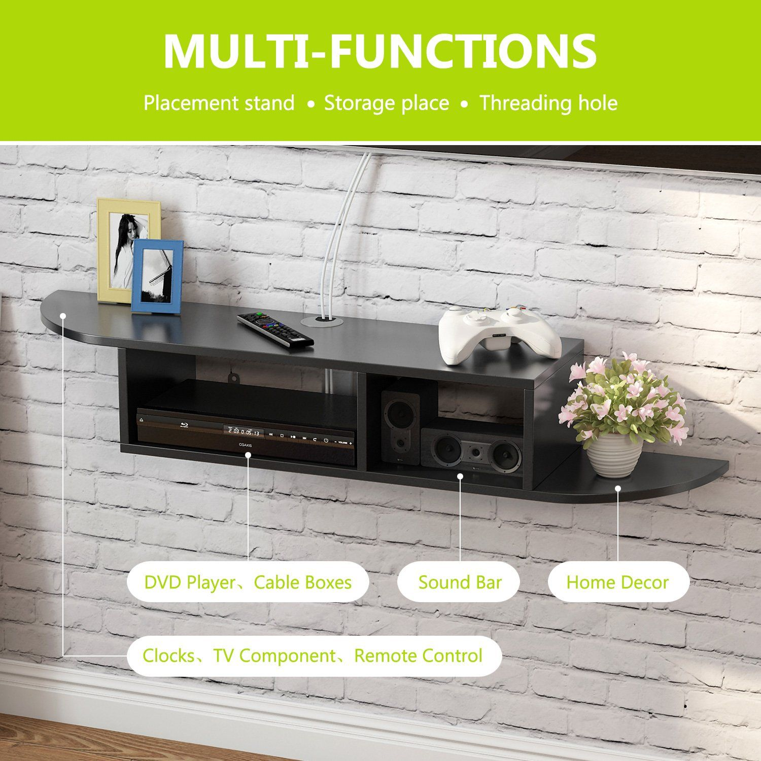 Tribesigns 2 Tier Modern Wall Mount Floating Shelf Tv Console 43 3x9 4x7 Inch For Cable Boxes Routers Console Shelf Floating Wall Rustic Wood Floating Shelves