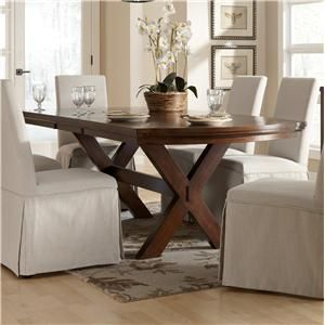 Signature Design By Ashley Burkesville Dining Room Trestle Table With Leaf