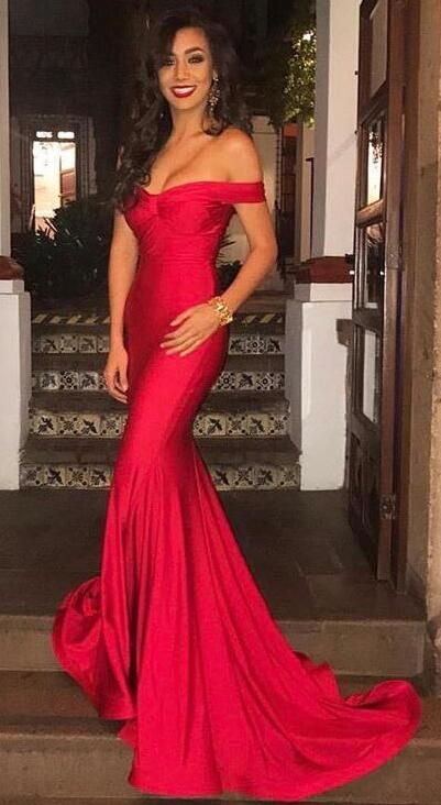 Off The Shoulder Mermaid Red Long Prom Dress Evening Wedding Reception With Train