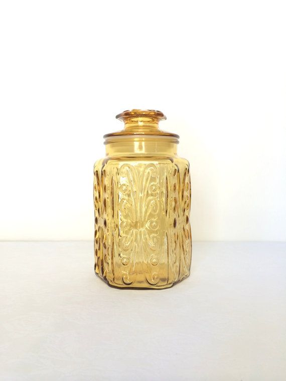 Vintage Amber Glass Canister Jar Large Atterbury Scroll 1970s Imperial Amber…