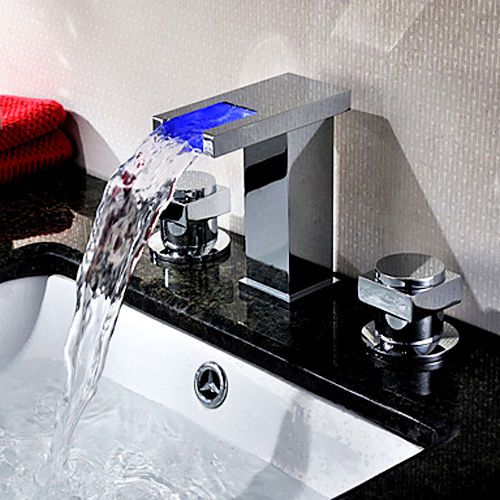 Modern Chrome Led Light Up 3 Tap Hole Waterfall Basin Mixer Tap