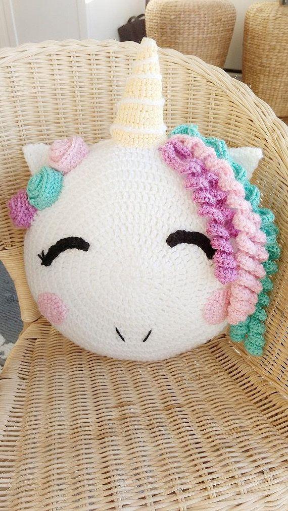 Unicorn/ unicorn pillow/ crochet Unicorn/ unicorn pattern/ knit ...