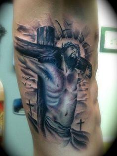 Bom jesus cristo tattoo on side man rib tattoos for Religious rib tattoos for guys