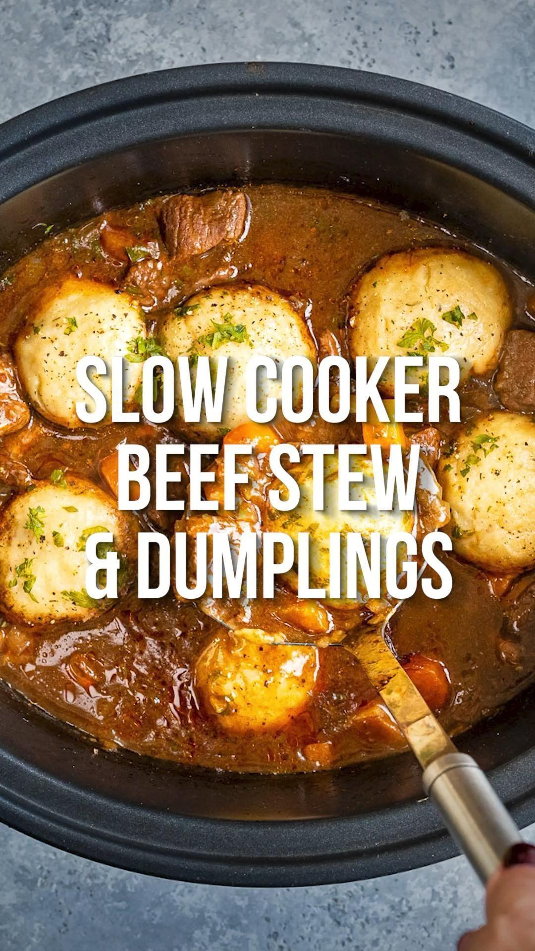 Slow Cooker Beef Stew And Dumplings Supergolden Bakes Slow Cooker Recipes Beef Crockpot Recipes Beef Stew Crockpot Recipes Slow Cooker