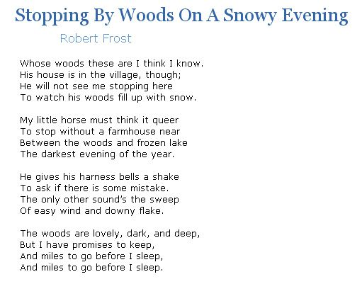 an analysis of the circumstance surrounding the composition of robert frosts poem stopping by woods