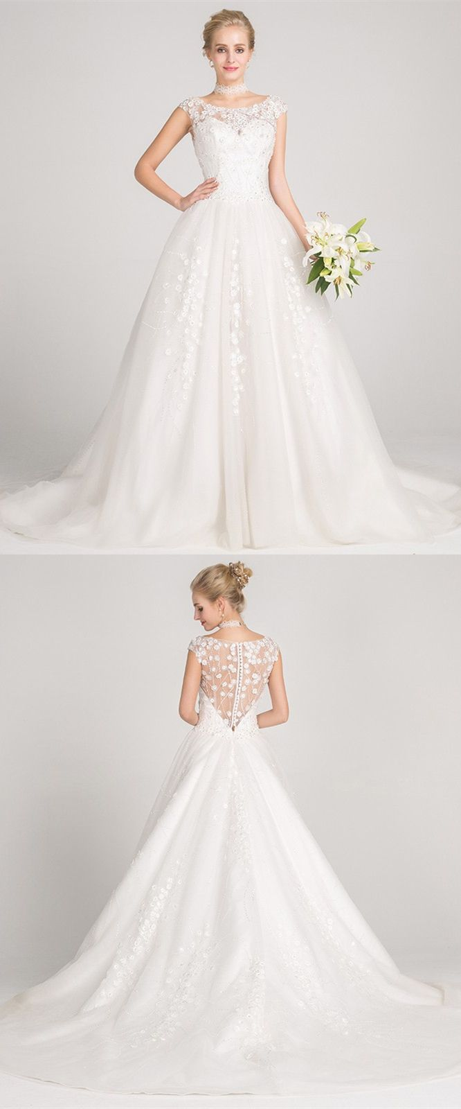 A-Line Bateau Cap Sleeves Court Train Wedding Dress with Appliques ...