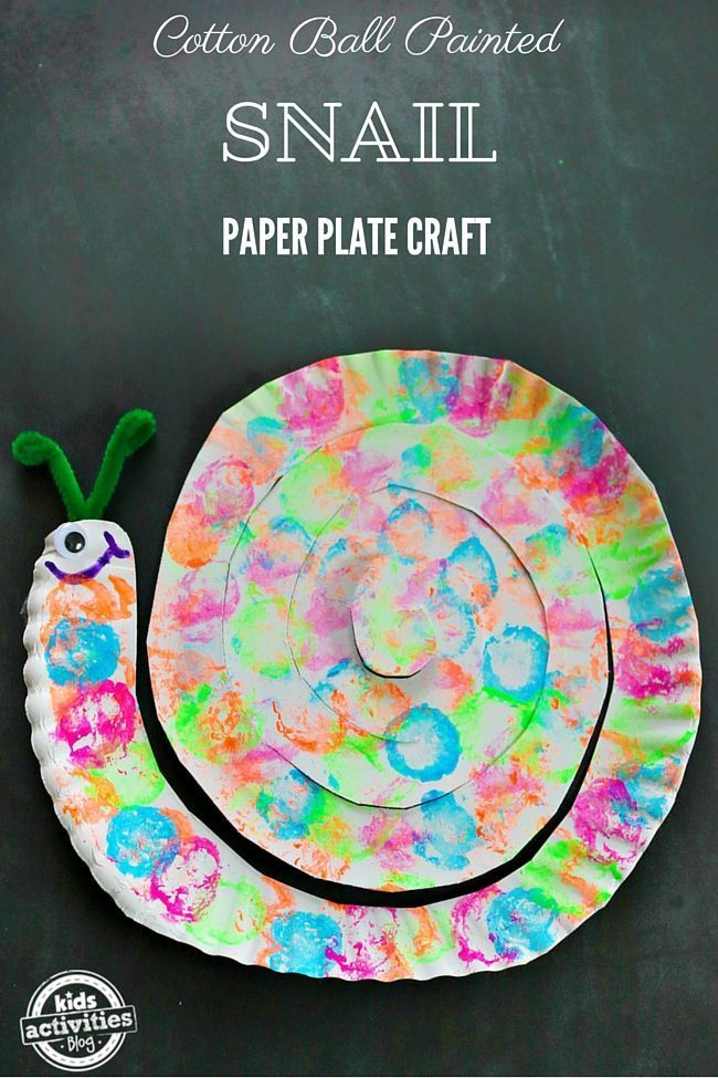 Preschool and kindergarten kids love this snail paper plate craft. Make your own cotton ball painted snail paper plate craft with our easy instructions. & COTTON BALL PAINTED SNAIL PAPER PLATE CRAFT | Paper plate crafts ...