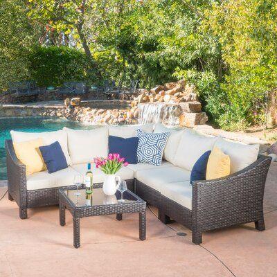 Sol 72 Outdoor Coast 6 Piece Rattan Sectional Seating Group with Cushions Fabric: Brown/Beige