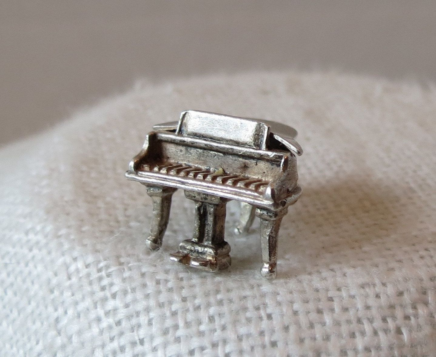 Sterling Silver Grand Piano Pendant Musical Instrument Keyboard Charm 925 Italy