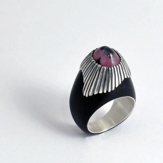 Black wood ring - Fujiama - Ebony ring - Ebony with Silver with Tourmaline - Unusual ring - Watermelon tourmaline - Handmade ring