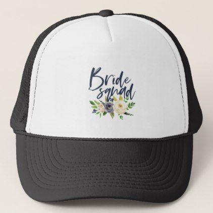 e0a688040d928  bride squad navy floral bachelorette bridal shower trucker hat -  wedding  gifts  marriage love couples