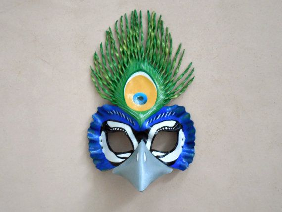 Peacock Leather Mask - Adult or Child Sizes - Masquerade Mask - Halloween…
