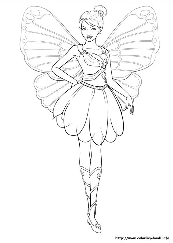 barbie mariposa coloring picture - Barbie Pictures To Print And Colour