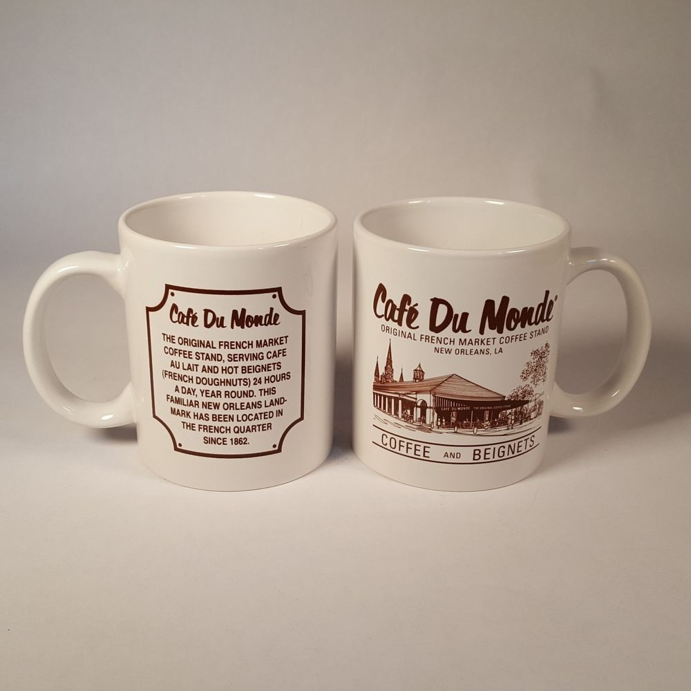 Cafe Du Monde Mugs Lot of 2 Coffe and French