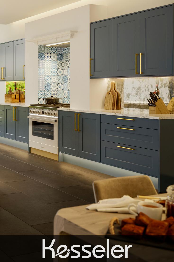 Matt Blue Shaker Kitchen With Gold Handles And Smeg Oven Modern Kitchen Style Modern Shaker Kitchen Kitchen Cabinet Styles Kitchen Styling Modern