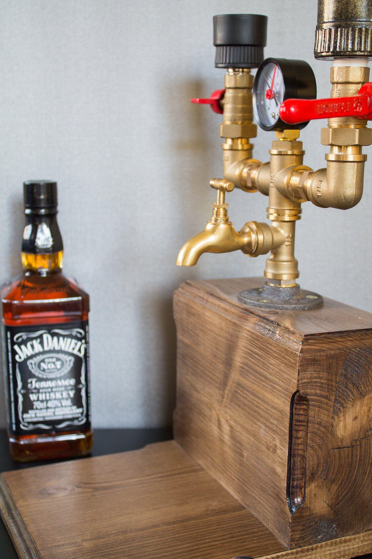 Double Liquor Alcohol Whiskey Wood Dispenser Gift For Him Etsy