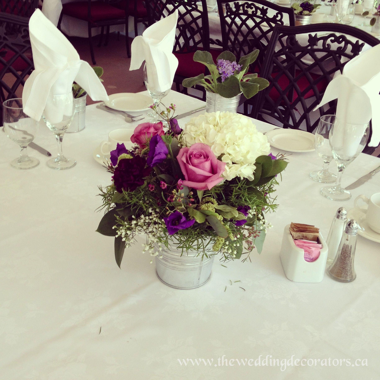 Vintage Silver Tin Bucket Wedding Reception Centrepieces Purple Flowers Vintage