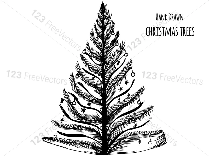 Hand Drawn Christmas Tree Vector And Photoshop Brush Pack 01 How To Draw Hands Photoshop Brushes Christmas Tree Silhouette