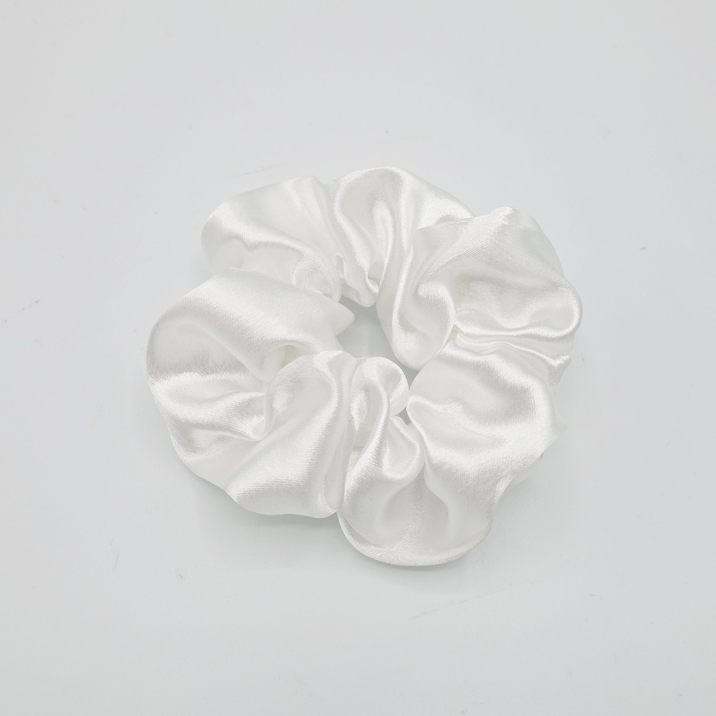 Ladies Womens Girls White Satin 4cm Large Hair Band Scrunchie Ponytail Brand New