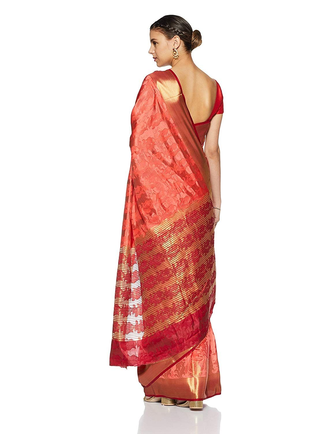 82bafe874452a Aalia Art Silk Embroidered Saree with Blouse piece (7412 Pink One size)   Amazon.in