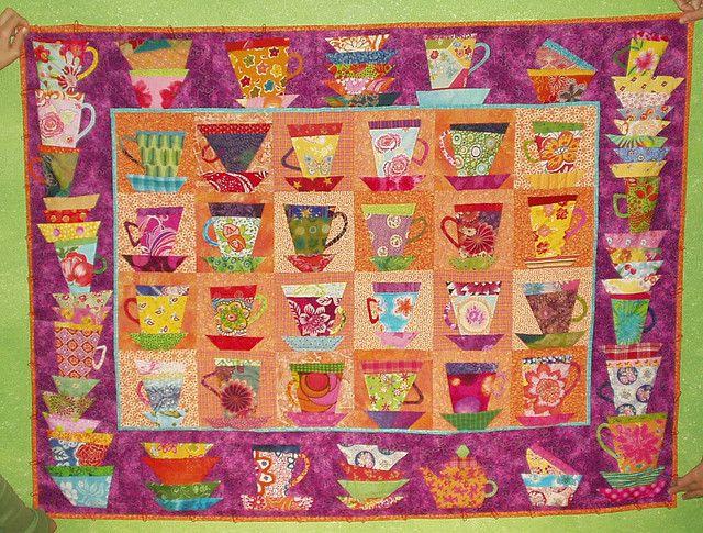scrappy quilt of tea cups