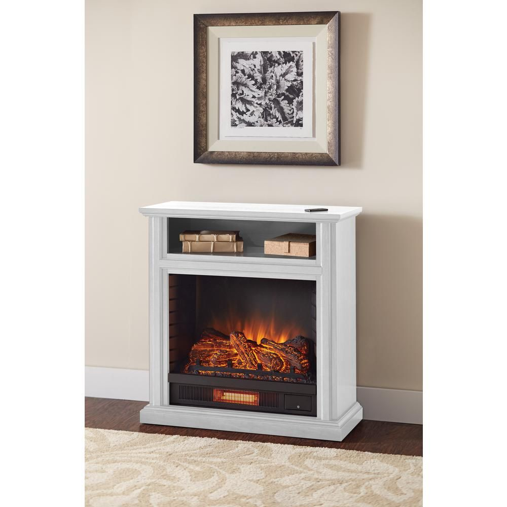 hampton bay ansley 32 in rolling mantel infrared electric fireplace rh pinterest com  small white electric fireplace stove