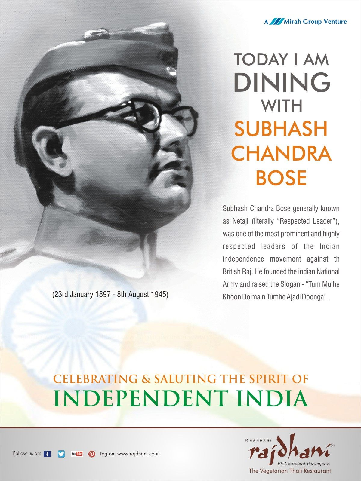 Subhash Chandra Bose generally known as Netaji, was one of