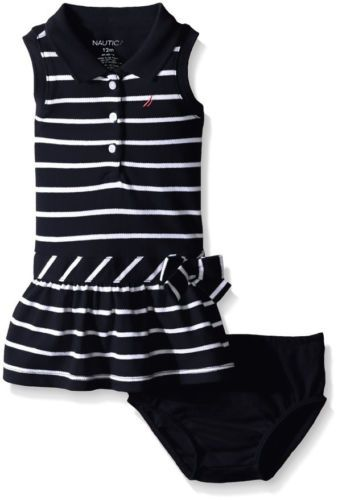 16489f69e Nautica Baby Girls  Striped Pique Dress with Bow Diaper Cover Navy ...