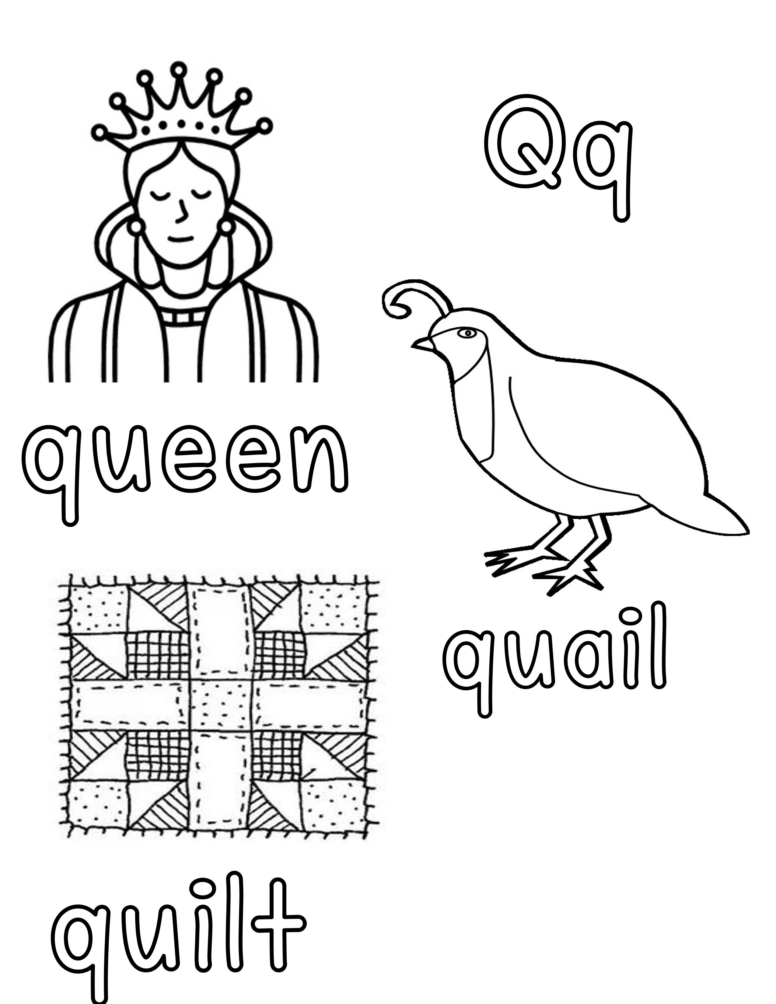 Phonetic Qq Coloring Sheet