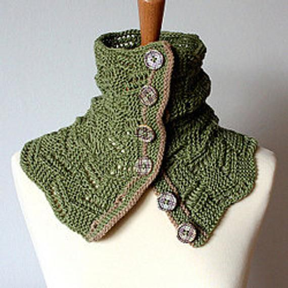Knitting Pattern Buttoned Lace Spring Cowl pdf file   Etsy ...