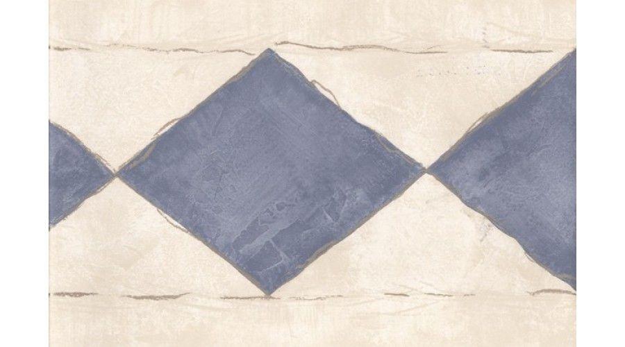 Contemporary Cream Silver Blue Diamonds Wallpaper Border Wallpaper Border Blue Diamond Diamond Wallpaper